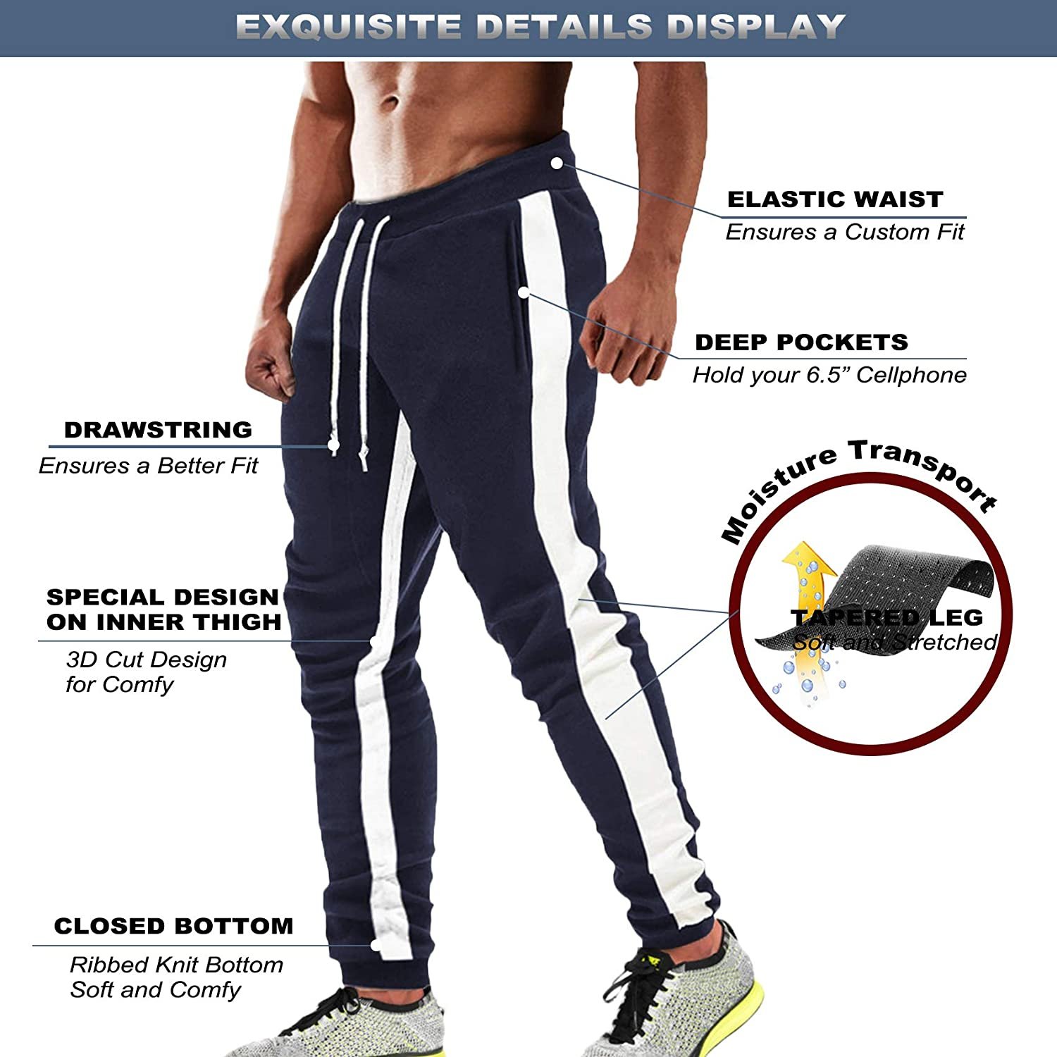 MAGCOMSEN Mens Jogging Tracksuit Bottoms for Men Casual Slim Fit Running Walking Trousers with Adjustable Elastic Waist