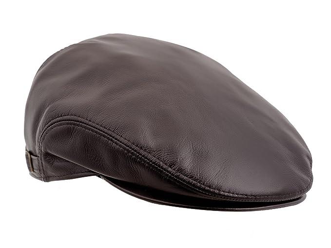 9e0d8bcc6e1 Sterkowski Genuine Leather Ivy League Classic Flat Cap with Earflap US 6  3 4 Brown