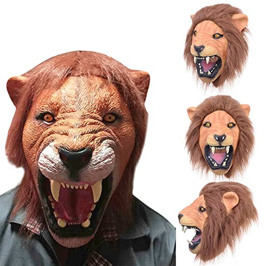 Cabeza de León de goma de látex máscara disfraz de Halloween ...