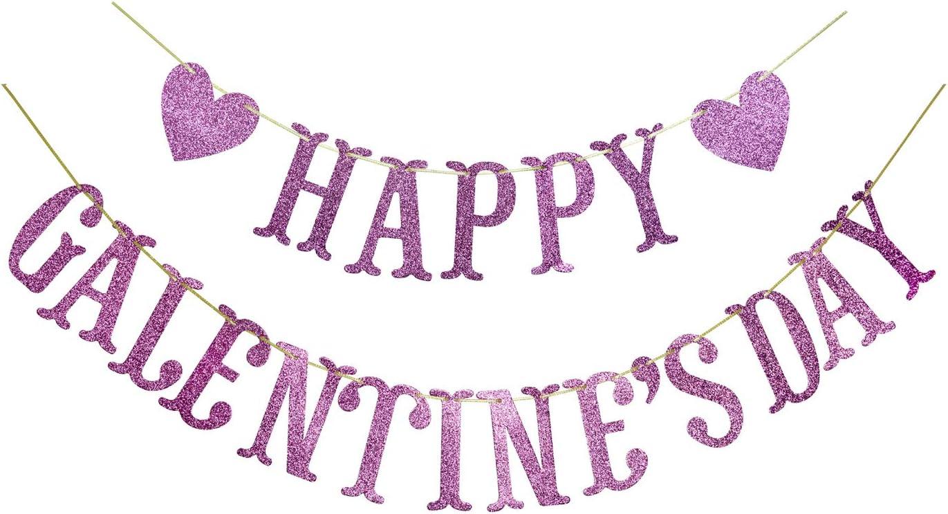 Amazon Com Happy Galentine S Day Glitter Banner Valentine S Day Banner Galentine Valentine Party Decorations Pink Health Personal Care
