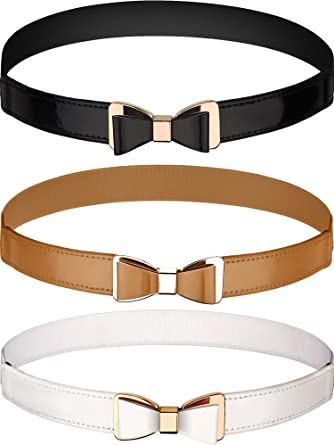 3 Pieces Women Skinny Waist Belt Thin Stretchy Bow Belt for Dress 3 Colors
