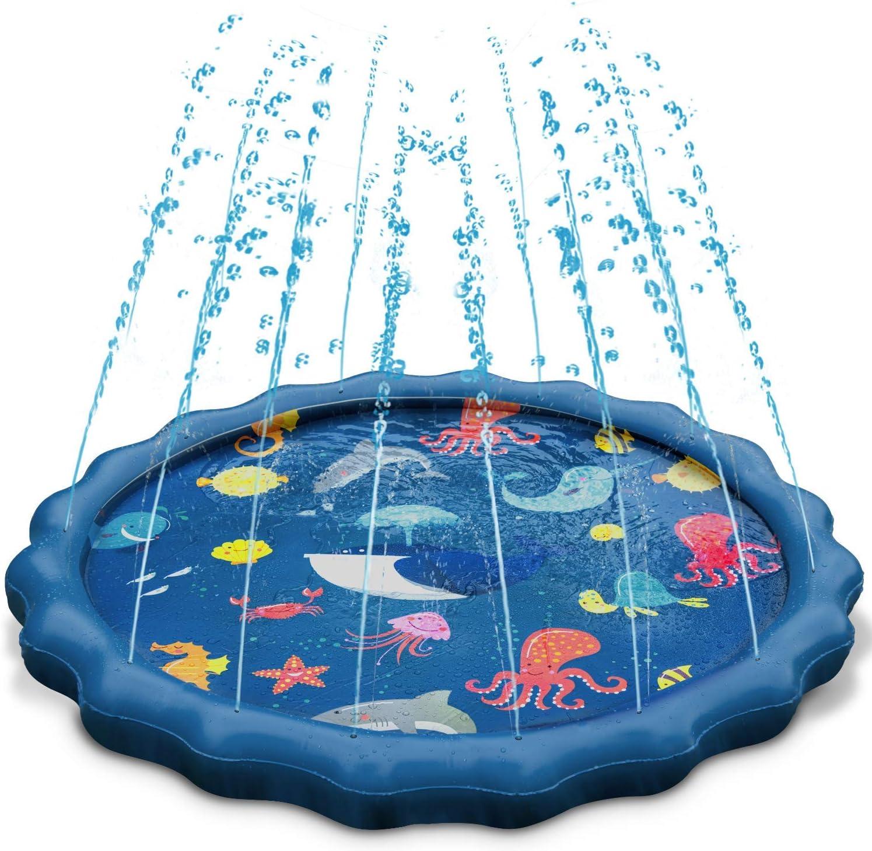 """Splash Play Mat, Uiter Tapete de Aprendizaje para Salpicar con Rociadores para Actividades al Aire Libre, Juguetes Inflables de Agua para Bebés, Niños Pequeños y Niños (60"""" / 150 cm)"""