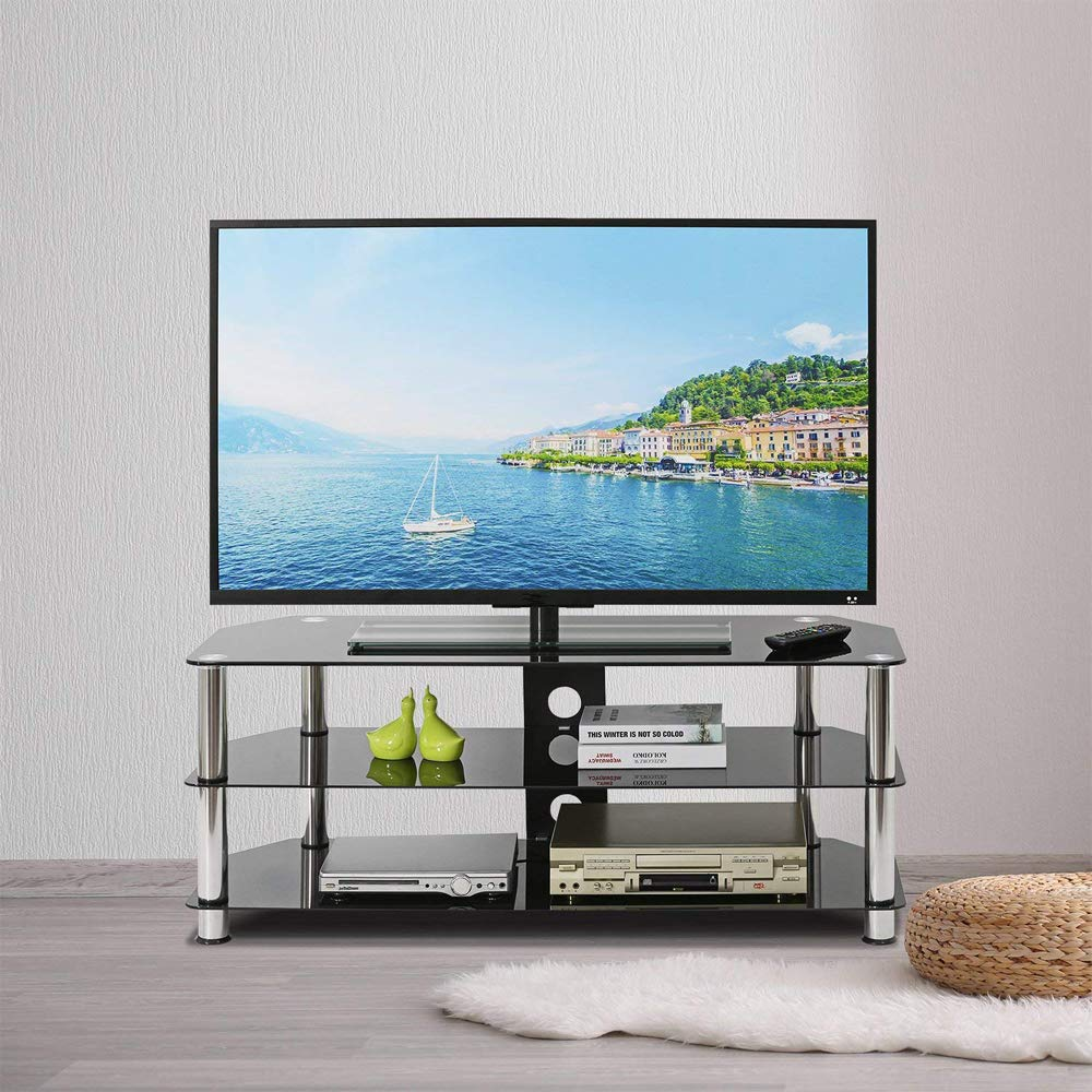 Leisure Zone Glass TV Stand Table Unit 100cm Corner TV Stand Cabinet with Tempered Glass Shelf for 32-60 Inch Plasma//LCD//LED//3D Black