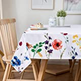 Sunm Boutique Watercolor Wild Flowers Tablecloth, Spring Floral Table Cloth, 60 x 84 inch, Machine Washable Waterproof…