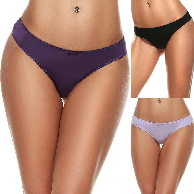 Ekouaer Women's 3 Pack Seamless Assorted Colors Thong Panty AL001664
