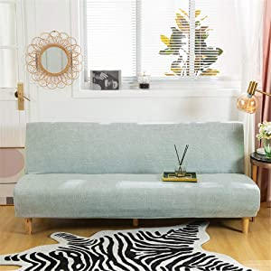 Stretch Sofa Slipcover Armless Futon Cover Printed Fitted Furniture Protector Elastic Polyester Spandex Washable Armless Sofa Cover Folding Couch Shield Sofa Cover (Printed-041, Futon(Fit most size))