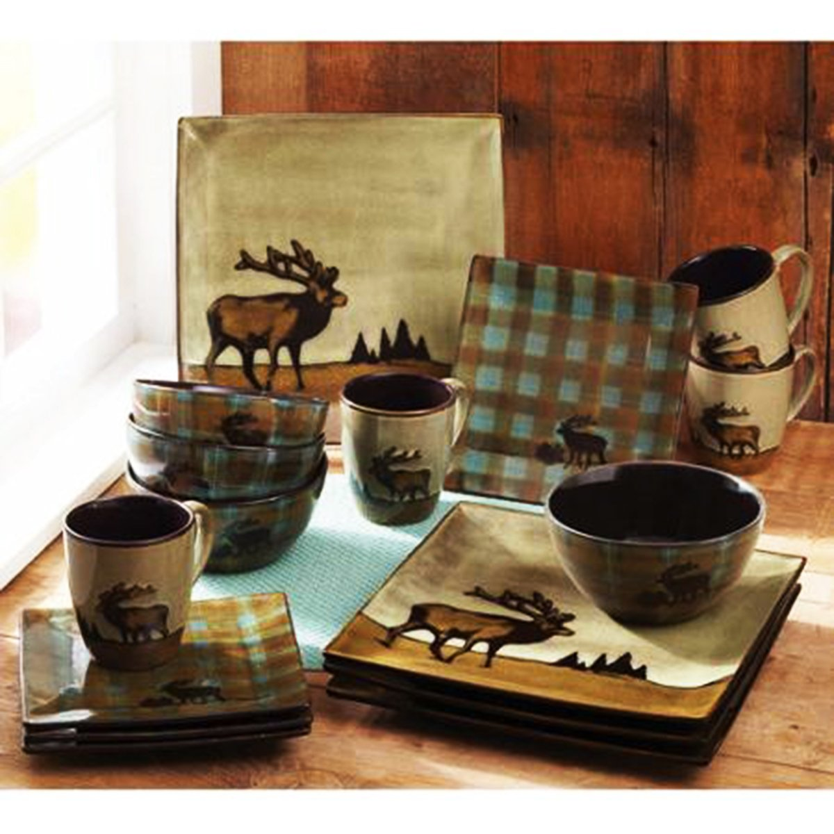 Superbe Amazon.com | 16 Piece Roaming Elk Stoneware Dinnerware Set W/ Mugs, Plates  U0026 Bowls. PERFECT FOR ANY CABIN ON SALE NOW: Accent Plates