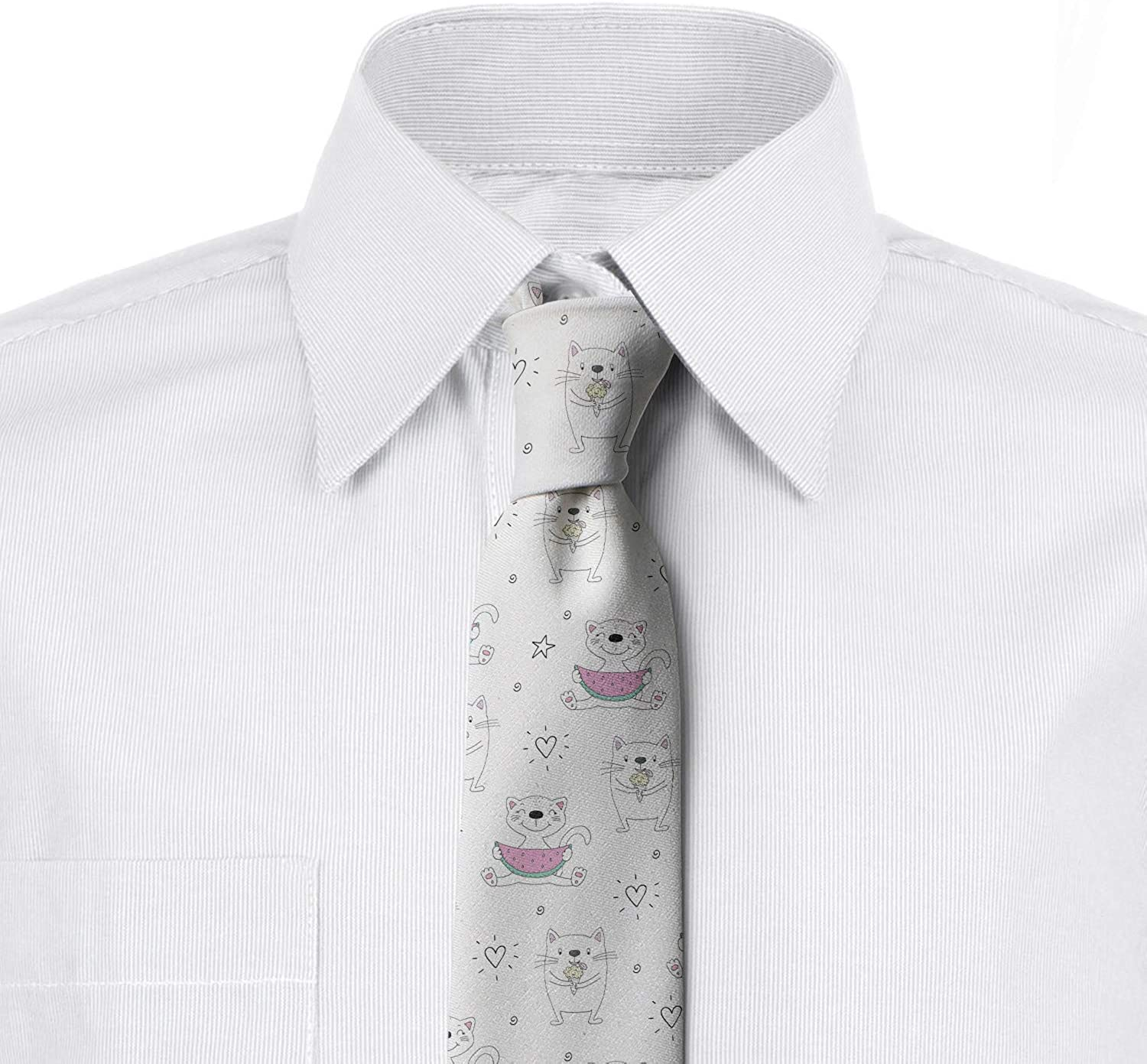 Doodle Kittens and Watermelon 3.7 Ambesonne Mens Tie Pale Pink Mint Green