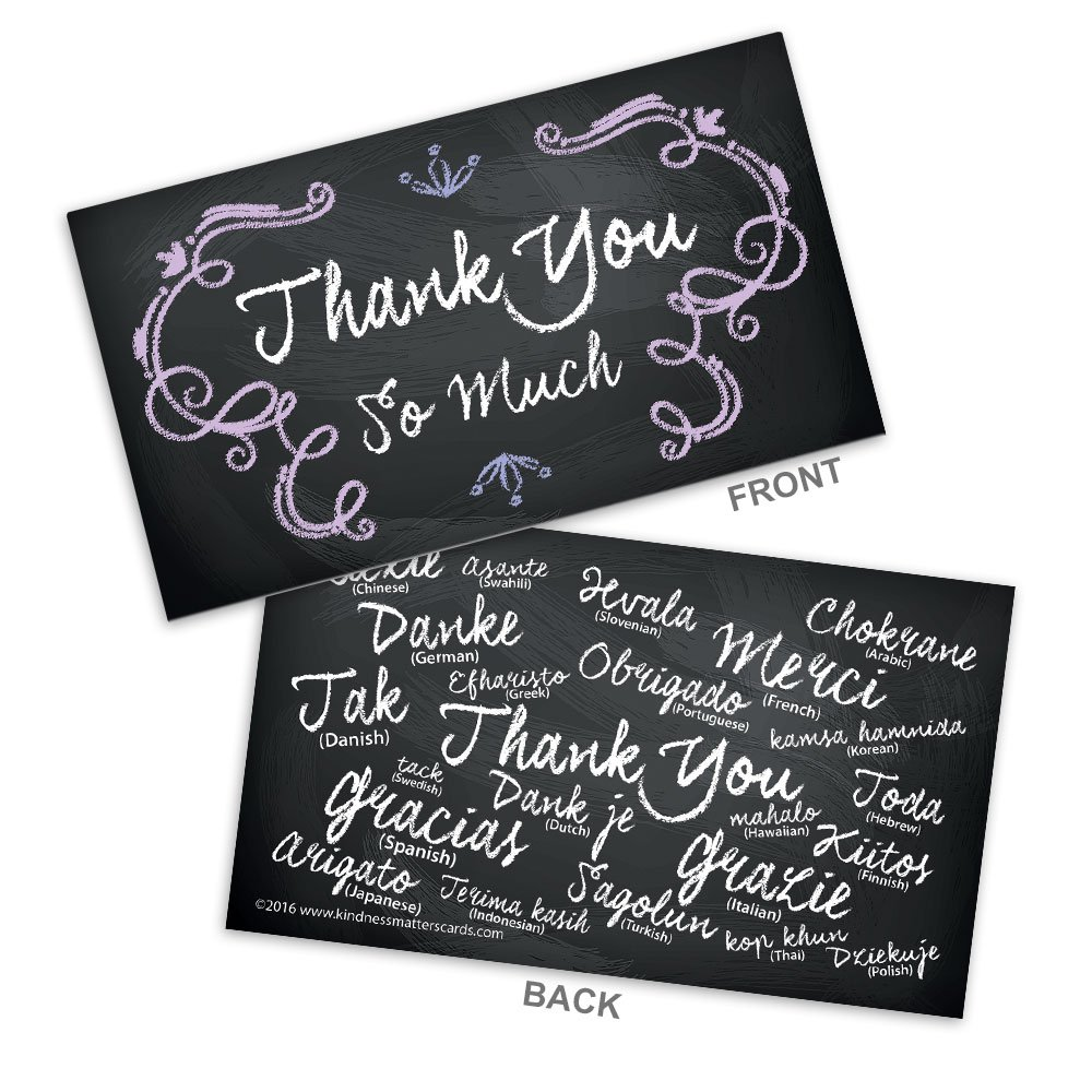 """Chalkboard Colored Thank You Business Cards (3.5"""" x 2.0"""") with smooth satin finish - Box of 100 Cards"""