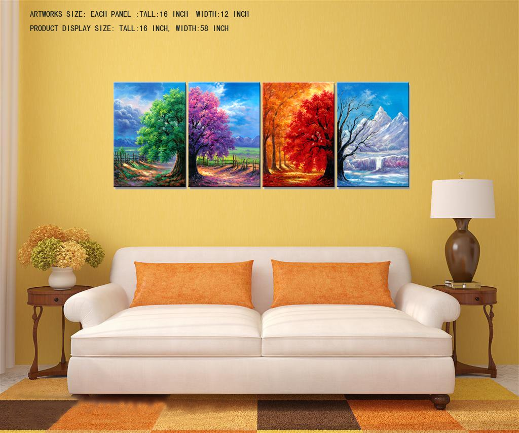 Amazon.com: Nuolanart- 4 Seasons Modern Landscape 4 Panels Framed ...