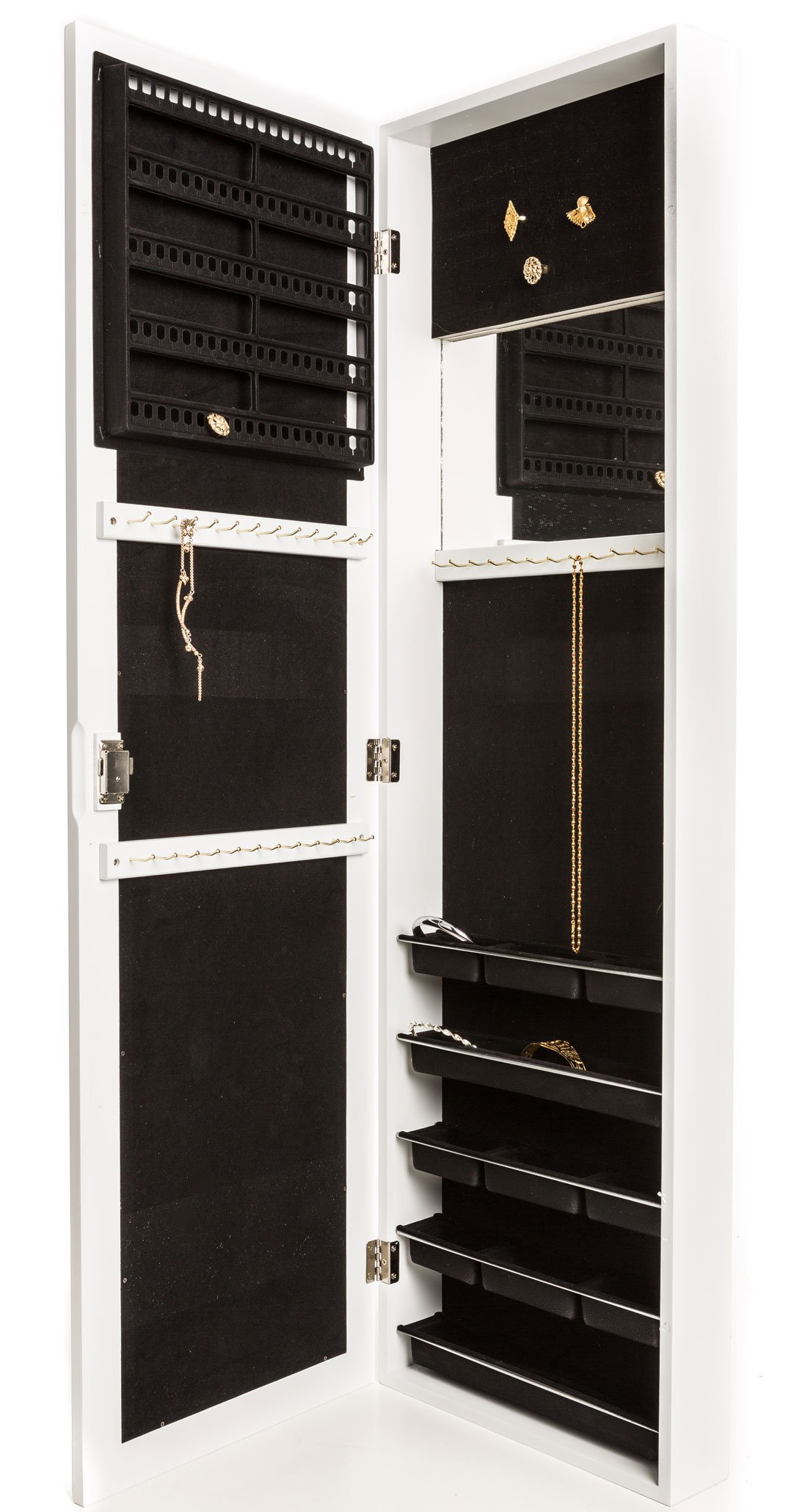 Locking Jewelry Armoire with Mirror - Wall Mount or Hanging Over the Door by Perfect Life Ideas (White - New)