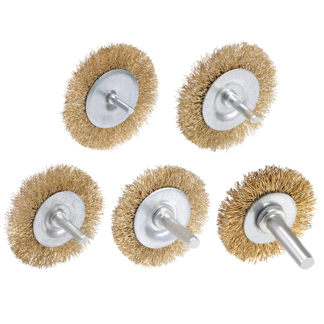 uxcell Wire Wheel Brush with Shank Bench Copper Plated Crimped Steel 1-1//2Inch Wheel 0.012-inch Wire Dia 3 Pcs