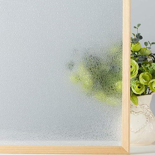 VELIMAX Rain Glass Window Film Decorative Glass Film Static Cling Privacy Rain Glass Sticker Crystal Film Heat Control 35.4 x 157.4