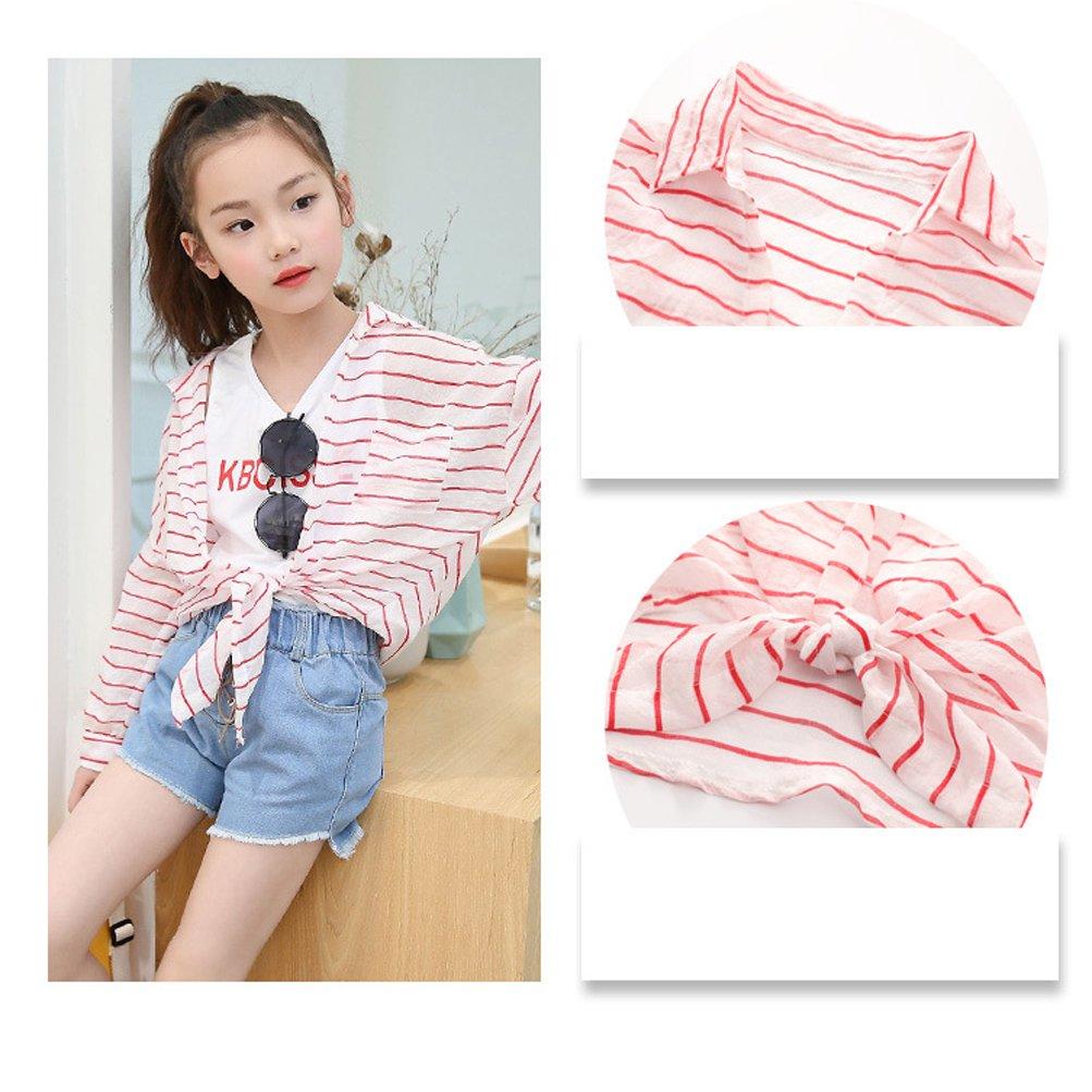 ANJUY Kid Stripe Sunscreen Costumes Baby Wind UV Hooded Jacket Apparel