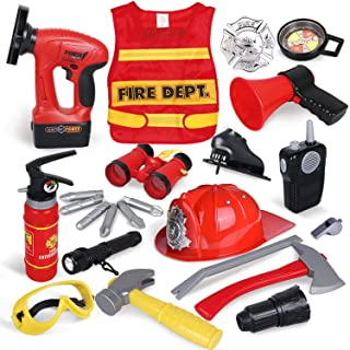 FUN LITTLE TOYS 23 PCs Toys Kids Fireman, Firefighter Costume for Kids Pretend Play Dress-up Toy Set