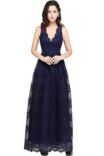 Babyonlinedress Women's Casual V-neck Slim Retro Floral Lace Formal Long dresses