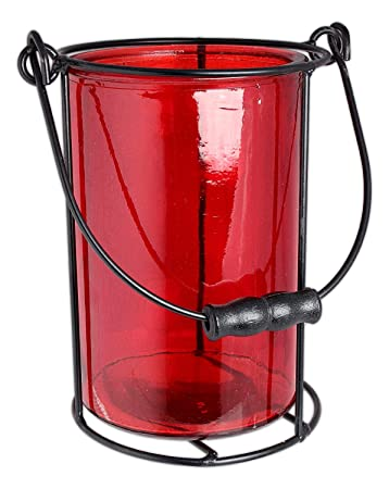 Hills Parks 6 x 4 Round Black Medal Candle Holder with Handle And Red Glass Insert 7-566MT//1-RD