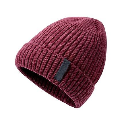 502a70731486f Amazon.com   DRAGON SONIC Wine Red Plush Lining Winter Men and Women Skull  Cap   Sports   Outdoors
