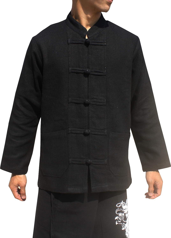 RaanPahMuang Quality Hemp Cotton Blend Shirt China Collar Long Sleeve Frog Button