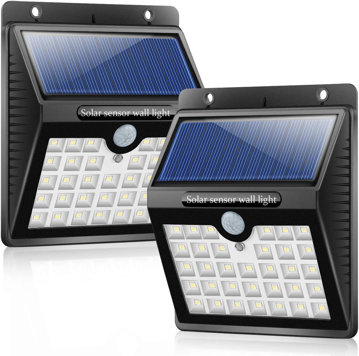 Solar Wall Light Motion Sensor Waterproof 33 LEDs Solar Powered Wireless Wall Light 3 Intelligent Modes Outdoor Security Light for Garden Patio Yard Deck Fence 2 Pack