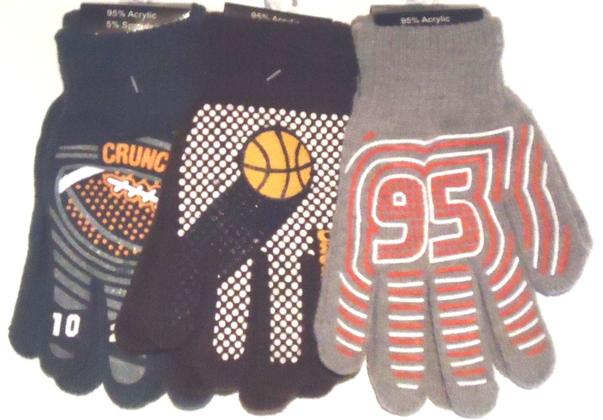 Set of Three Pairs Thisulate Spandex Polyester Flexible Gloves for Teens