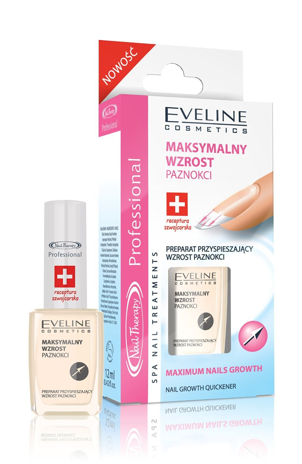 EVELINE Cosmetics Nail Therapy Professional - 8 in 1 & 3 in 1 - Beautiful, healthy and neat nails with immediate effect, Farbe:Maximum nails Growth 5902425378885
