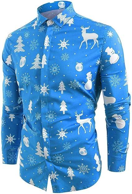 ღLILICATღ Blusa navideña para Hombre, Hombre muñeco de Nieve Estampado Camisa de Navidad de Manga Larga Blusa Ciervo Impreso Delgada: Amazon.es: Ropa y accesorios