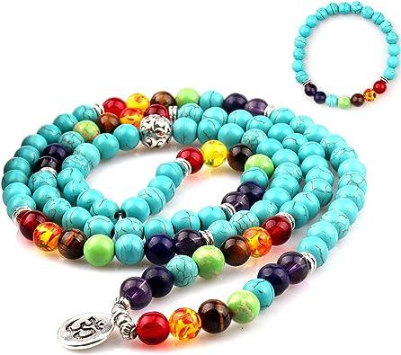 Amazon.com: GVUSMIL 7 Chakra 108 Mala Beads Wrap Pulseras ...