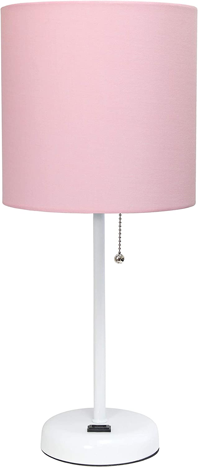Limelights LT2024-POW Stick Charging Outlet Table Lamp, Pink