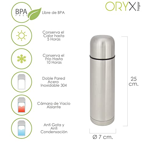 Oryx 5075005 Termo Liquidos Acero Inoxidable Antigoteo 500 Ml.