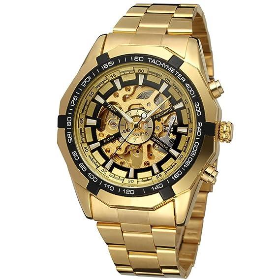 GuTe Reloj de pulsera mecánico automático, dial con diseño de X y mecanismo visible, color dorado y negro: Amazon.es: Relojes