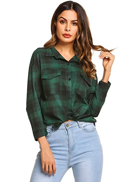 060a9b67f0 Pagacat Womens Shirts Plaid Blouse Long Sleeve Button Down Ladies Casual  Chiffon Tops Blouses Cotton  Amazon.co.uk  Clothing