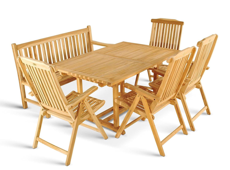 XXS® Gartengruppe Caracas aus Teak-Holz, 6 teilig, Garten-Tisch mit Schirmloch, 1 x Garten-Bank Caracas, 4 x Hochlehner Aruba, Terrassen-Möbel aus Massiv-Holz, Gartenmöbel Oberfläche geschliffen