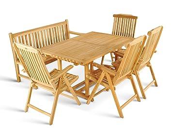 Xxs Gartengruppe Caracas Aus Teak Holz 6 Teilig Garten Tisch Mit