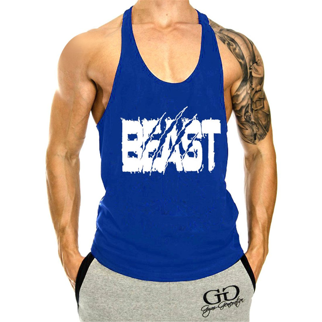YeeHoo Mens Beast Gym Muscle Workout Tank Tops Stringer Fitness Vest