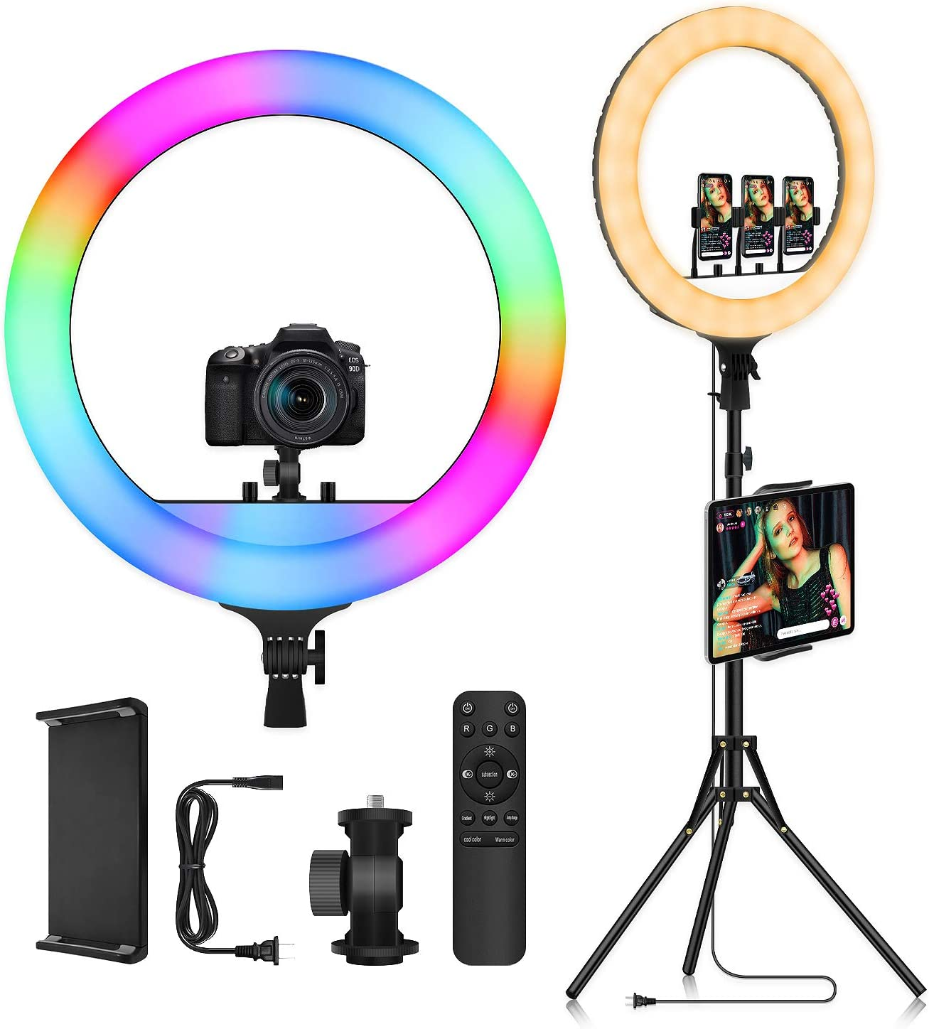 "18"" RGB LED Ring Light with Tripod Stand & iPad Phone Holder - Voice Control Music Sync Color Changing Selfie Circle Lights for Home Party Makeup Camera Photography Lighting YouTube Video Recording"