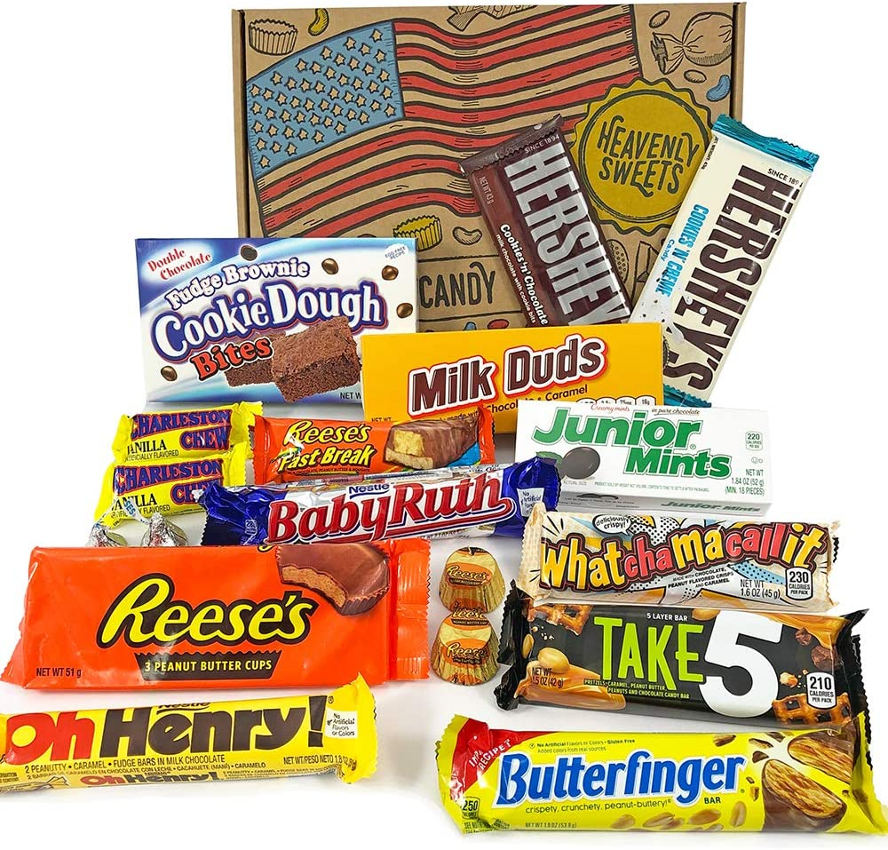 Confezione Media di Snack Americani   Cioccolato per Idea Regalo di Natale e Compleanno   Vasta Gamma tra cui Reeses Baby Ruth Hersheys   18 Pezzi in Confezione Vintage di Cartone