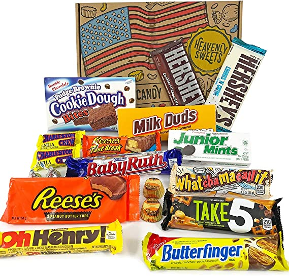American Chocolate Candy Hamper Box Assortment Includes Reeses Hersheys Butterfinger Baby Ruth Bar American Sweets Selection Value Pack 18