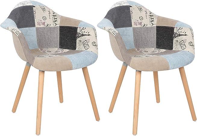 ArtDesign FR Ensemble de 2 Fauteuils Patchwork Multicolores Lin Tissu Loisirs Salon Chaises de Coin Chaises de Réception avec Dossier Coussin Doux