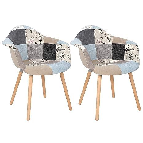 GroBKau - Juego de 2 sillones de Tela de Lino diseño de Patchwork, para Sala de Estar, sillas de Esquina, sillas de recepción con Respaldo Suave