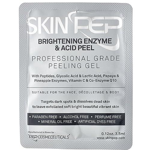 SkinPep Brightening Enzyme & Acid Peel - Beautiful and Vibrant Skin + Pineapple and Papaya Enzymes + Peptides + Glycolic Acid And Lactic Acid + Vitamin C - Professional Grade Peeling Gel