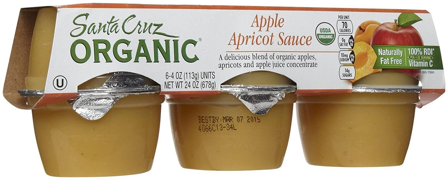 Santa Cruz Organic Apple Apricot Sauce Cups, 4 oz, 6 ct