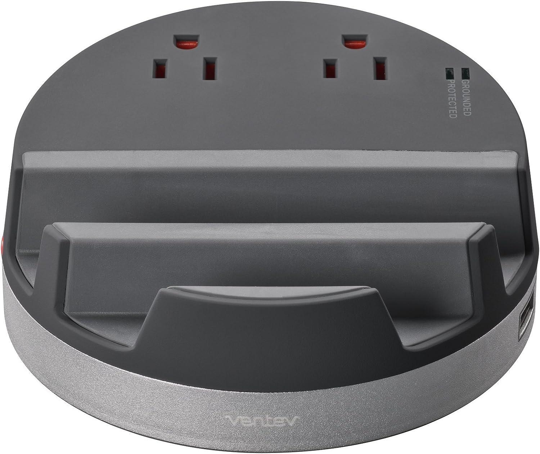 Ventev Desktop ChargingHub s500 | Smartphone Tablet Battery, Desktop Charger, Phone Stand, Portable Outlet | All-In-One Charging Station | 2 Outlets 3 USB Ports | Surge Protected Outlets