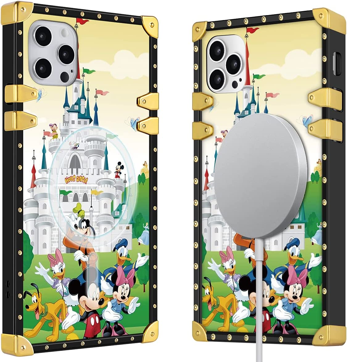 Disney iPhone 12&12Pro Case Support Magsafe Charger 6.1 inch Built in Magnetic Ring, iPhone 12&12Pro Magsafe Case Disney Castle Cute Mickey Cartoon Square Shockproof iPhone Case, Soft TPU Protection