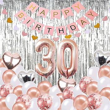 30 Geburtstag Dekorationen Banner Ballon Alles Gute Zum Geburtstag Banner 30 Rose Gold Anzahl Luftballons Nummer 30 Geburtstag Luftballons 30 Jahre Alt Geburtstag Dekoration Lieferungen Spielzeug