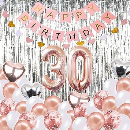 Globos de Globos para Decoraciones de cumpleaños número 30, Banner de Feliz cumpleaños, Globos número 30 de Oro Rosa número 30, Suministros de ...