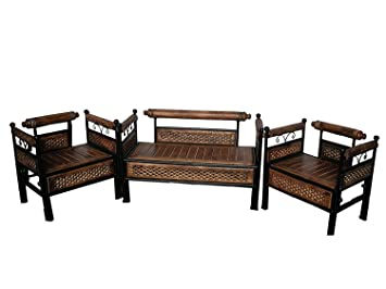 Woodkartindia Wooden Wrought Iron Sofa Set (2+1+1) For Living Room Part 84