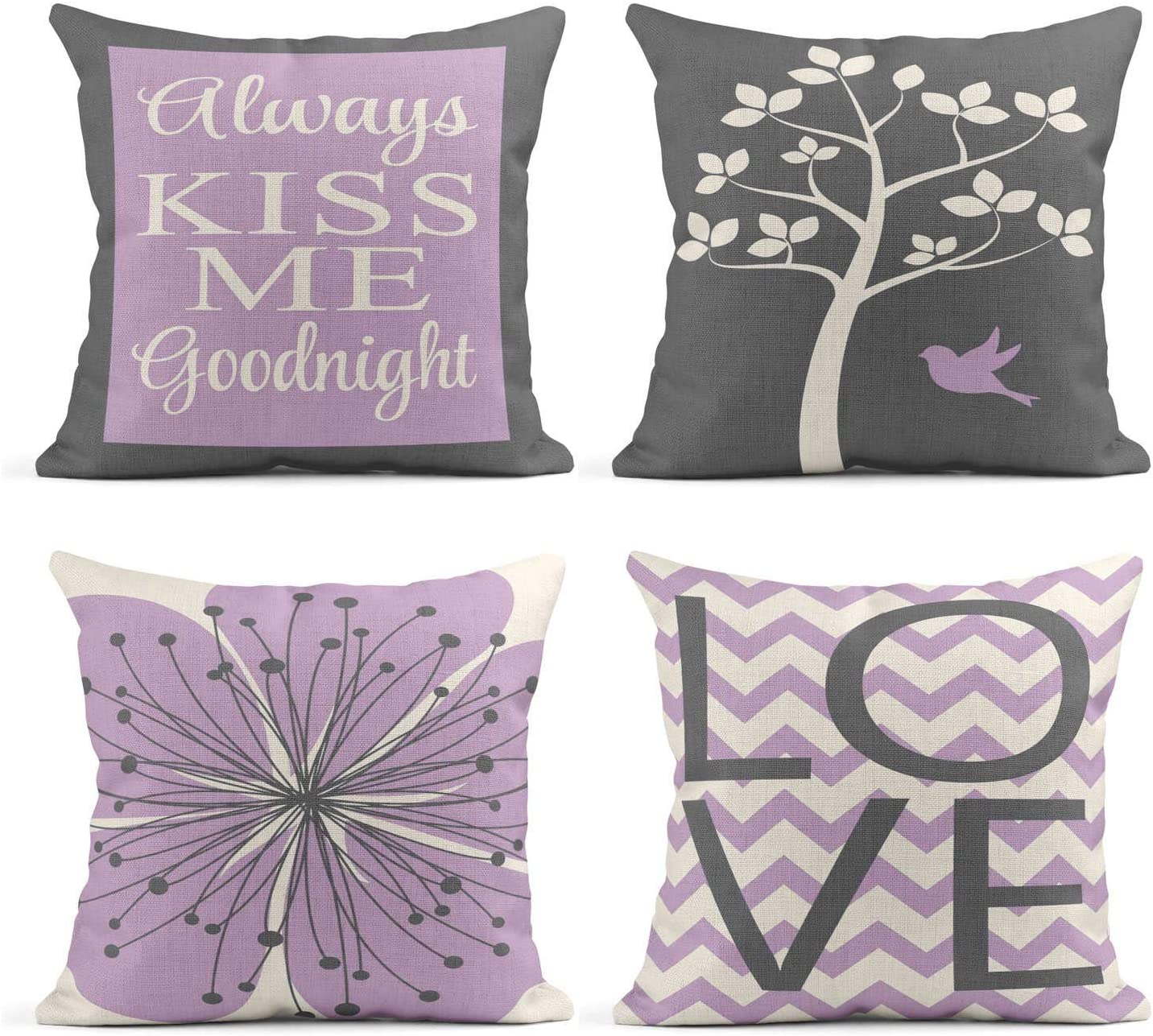 Tarolo Set of 4 Linen Throw Pillow Cover Case Always Kiss Me Goodnight Tree Love Children's Art Decorative Pillow Cases Covers Home Decor Square 20 x 20 Inches Pillowcases
