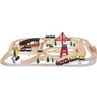 Melissa & Doug Juego de tren en madera, vehículos, construcción de alta calidad, 130 piezas, 43.18 cm alto x 12.7 cm ancho x 71.12 cm largo