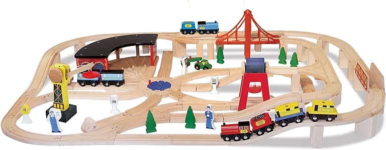 Melissa & Doug Wooden Railway Set, Vehicles, Construction, 130 Pieces, 43.18 cm H x 12.7 cm W x 71.12 cm L